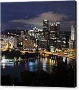 Pittsburgh Skyline At Night From Mount Washington 4 Canvas Print