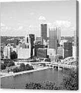 Pittsburgh Skyline From Mount Washington Black And White Canvas Print