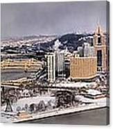 Pittsburgh's First Snow Of 2015 Canvas Print