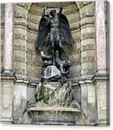 Place Saint Michel Statue And Fountain In Paris France Canvas Print