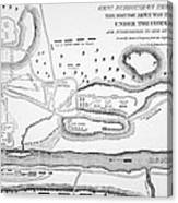 Plan Of The Battle Of Saratoga October 1777 Canvas Print