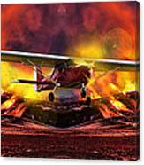 Plane And Fire Canvas Print