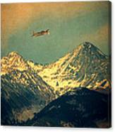 Plane Flying Over Mountains Canvas Print