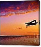 Plane Pass At Sunset Canvas Print