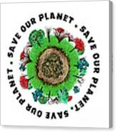 Planet Earth Icon With Slogan Canvas Print
