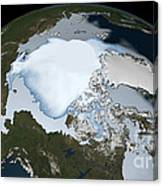 Planet Earth Showing Sea Ice Coverage Canvas Print