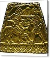 Plaque With Scythian Warriors. Gold Canvas Print