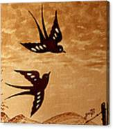 Playful Swallows Original Coffee Painting Canvas Print