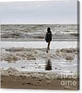 Girl Playing In Sea Foam Canvas Print