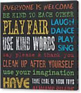 Playroom Rules Canvas Print