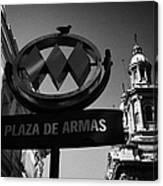 plaza de armas metro station near Santiago Metropolitan Cathedral Chile Canvas Print