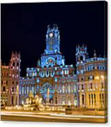 Plaza De Cibeles At Night In Madrid Canvas Print