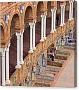 Plaza De Espana Colonnade In Seville Canvas Print