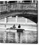 Plaza De Espana Rowboats Bw Canvas Print