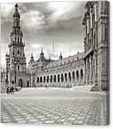 Plaza De Espana Seville Bw Canvas Print