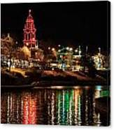 Plaza Time Tower Night Reflection Canvas Print