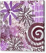 Plum And Grey Garden- Abstract Flower Painting Canvas Print
