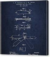 Pocket Knife Patent Drawing From 1886 - Navy Blue Canvas Print