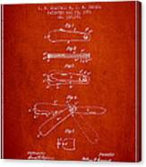 Pocket Knife Patent Drawing From 1886 - Red Canvas Print