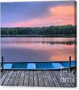 Poconos Lake Whitney Sunset Rowboat Canvas Print
