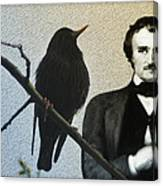 Poe And The Raven Canvas Print