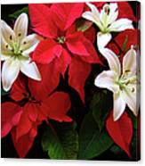 Poinsettia And Lilies Canvas Print