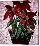 Poinsettias Expressive Brushstrokes Canvas Print