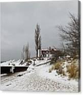 Point Betsie In Winter Canvas Print