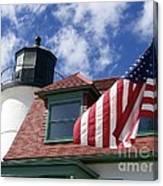 Point Betsie Lighthouse With Flag Canvas Print