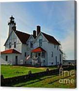 Point Iroquois Lighthouse On Whitefish Bay Michigan Canvas Print