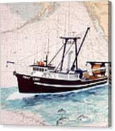 Point Loma Trawl Fishing Boat Nautical Chart Map Art Canvas Print