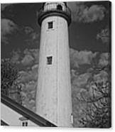 Pointe Aux Barques Lighthouse Black And White Canvas Print
