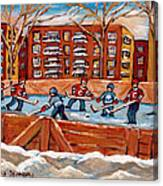 Pointe St. Charles Hockey Rink Southwest Montreal Winter City Scenes Paintings Canvas Print