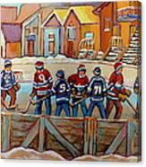 Pointe St. Charles Hockey Rinks Near Row Houses Montreal Winter City Scenes Canvas Print
