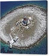 Pokonji Dol Lighthouse From Air Canvas Print