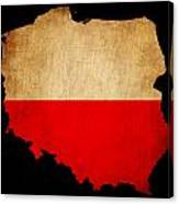 Poland Grunge Map Outline With Flag Canvas Print