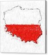 Poland Painted Flag Map Canvas Print