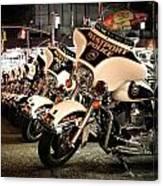 Police Bikes In New York Canvas Print