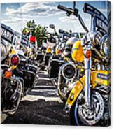 Police Motorcycle Lineup Canvas Print