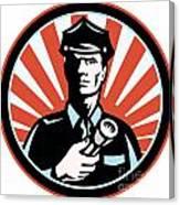Policeman Security Guard With Flashlight Retro Canvas Print