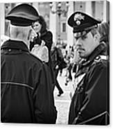 Policemen In Rome Canvas Print
