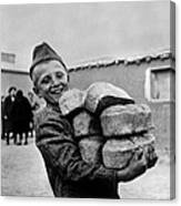 Polish Youngster With Bread Made Canvas Print