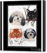 Polka Dot Family Pets With Borders - Whimsical Art Canvas Print