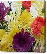 Polka Dot Mums And Carnations Canvas Print