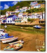 Polperro At Low Tide Canvas Print