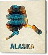 Polygon Mosaic Parchment Map Alaska Canvas Print