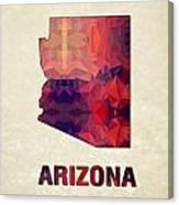 Polygon Mosaic Parchment Map Arizona Canvas Print