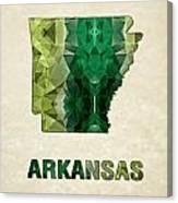 Polygon Mosaic Parchment Map Arkansas Canvas Print