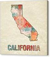 Polygon Mosaic Parchment Map California Canvas Print