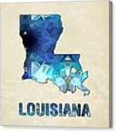 Polygon Mosaic Parchment Map Louisiana Canvas Print